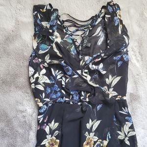 Spense Black Floral Dress with Corset Back Detail